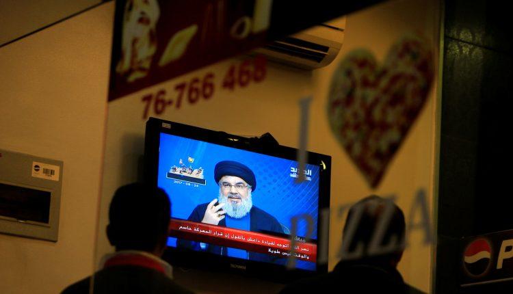 Lebanon's Hezbollah leader Sayyed Hassan Nasrallah is seen speaking on television in Sidon